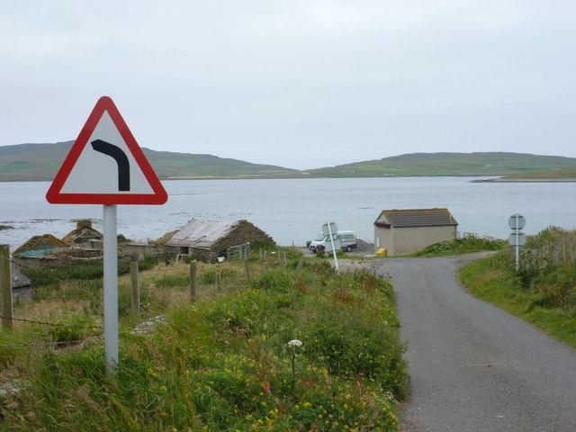 Egilsay: approaching the ferry slipway