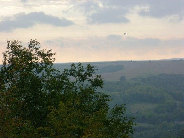 Biplane across the valley