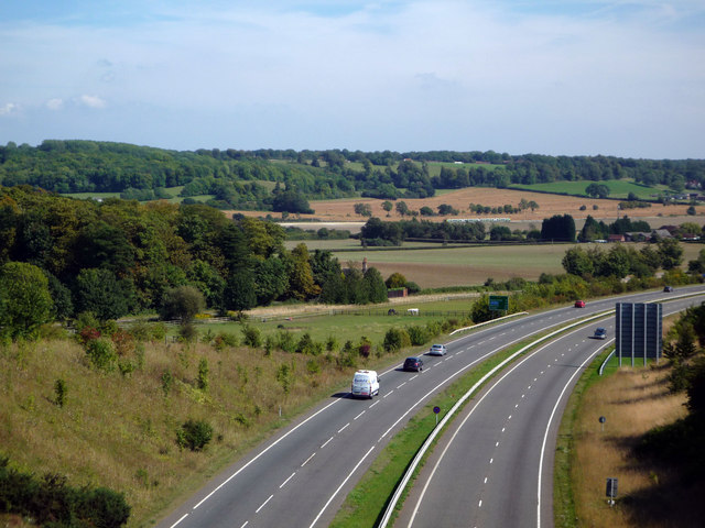 A41 seen from the Ridgeway footpath bridge