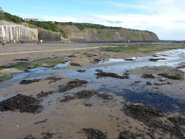 The beach by the slipway at Robin Hood's Bay