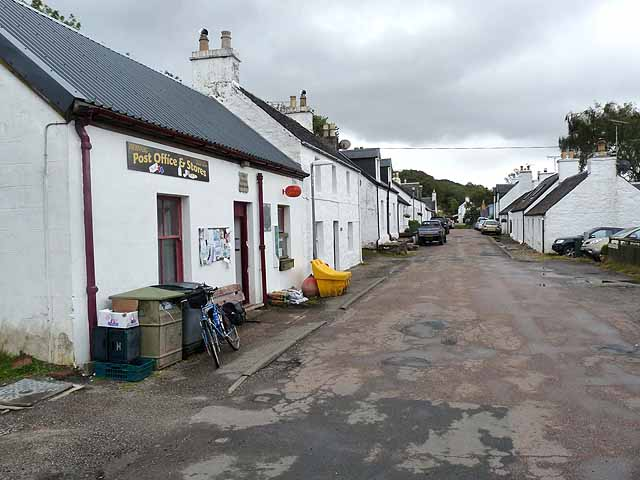 Dervaig post office and main street