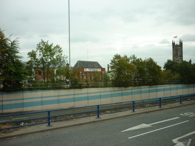 Looking across the A6 towards Brindle Heath