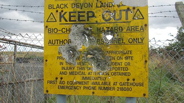 Shot up sign, Black Devon landfill site