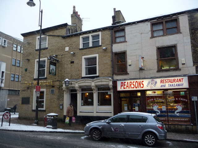 The Westgate public house and Pearsons fish and chip restaurant and take away - Union Street, Halifax