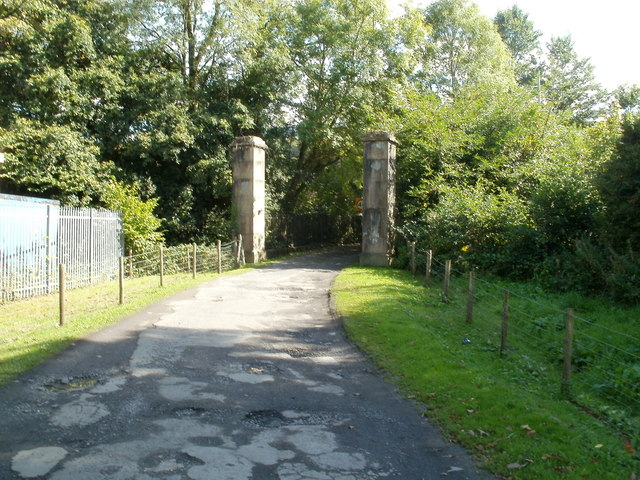 Gate posts at the B4242 end of Aberpergwm House grounds, Glynneath