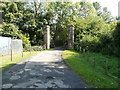 SN8706 : Gate posts at the B4242 end of Aberpergwm House grounds, Glynneath by Jaggery