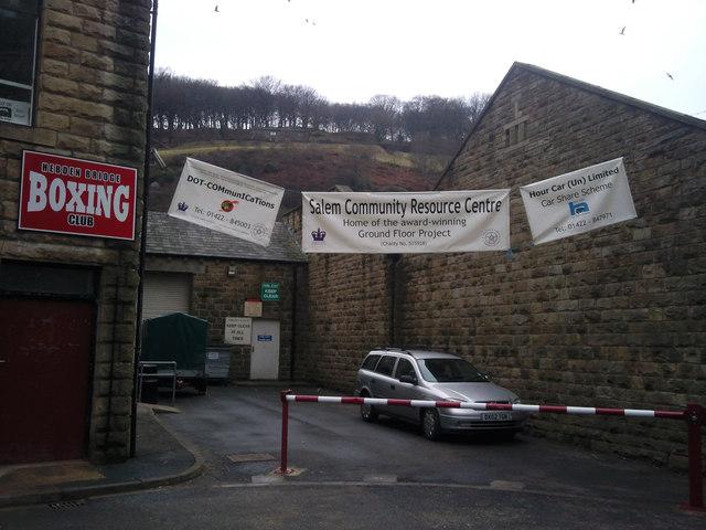 Banners near the Salem Community Centre, Hebden Bridge