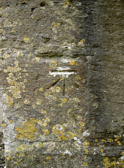 Benchmark on St Denys' church, Northmoor