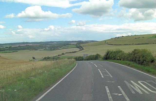 A417 descends Shortlands Hill