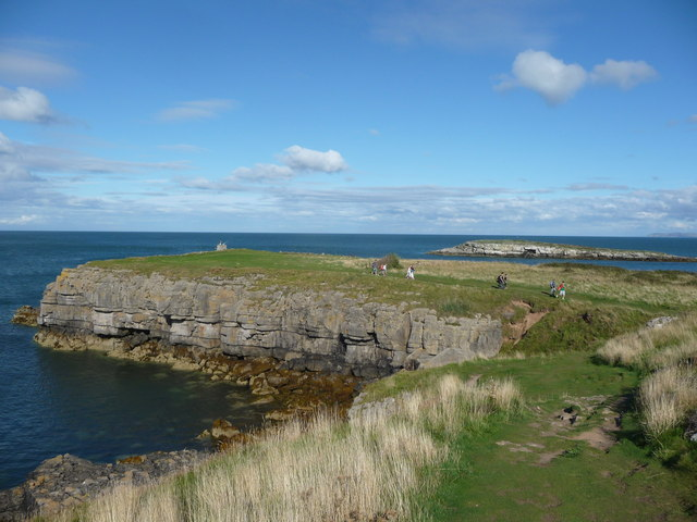 The headland at Moelfre with Ynys Moelfre in the background