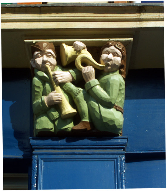 Wooden carved relief of musicians, Forest Gate