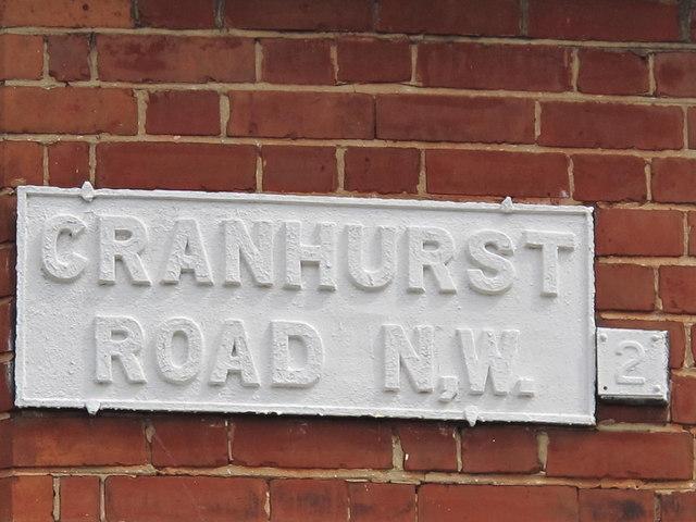 Sign for Cranhurst Road, NW2