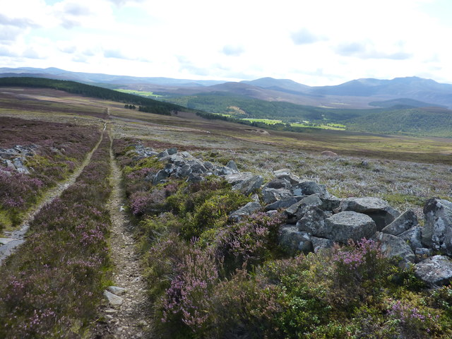 The track leading down from Carn Moine an Tighearn towards Crathie