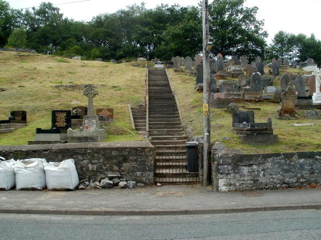 Long flight of steps, Ebenezer Chapel graveyard, Pontneddfechan