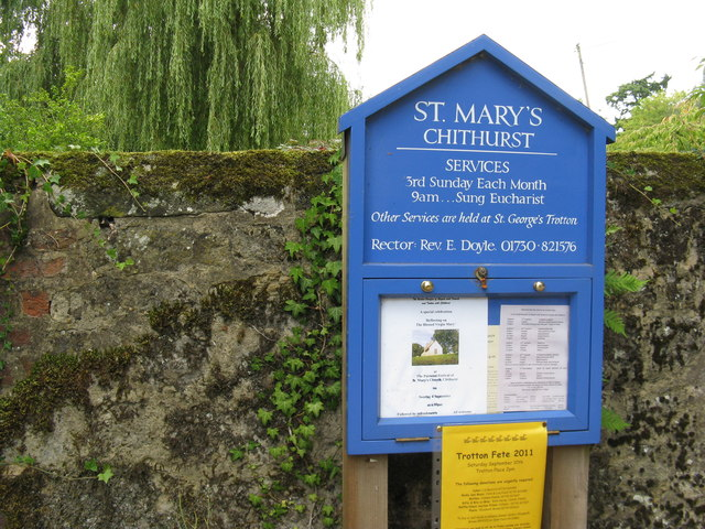 Notice board for St Mary's Church Chithurst