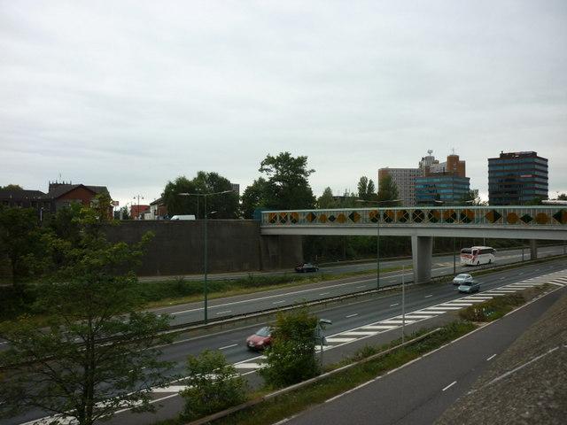 A footbridge over the M602