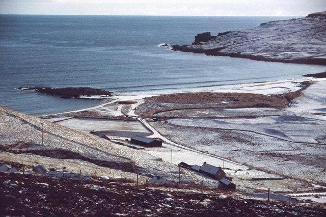 Norwick beach in the snow