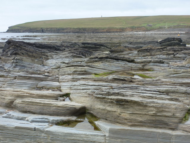 Birsay: rock strata and Brough of Birsay