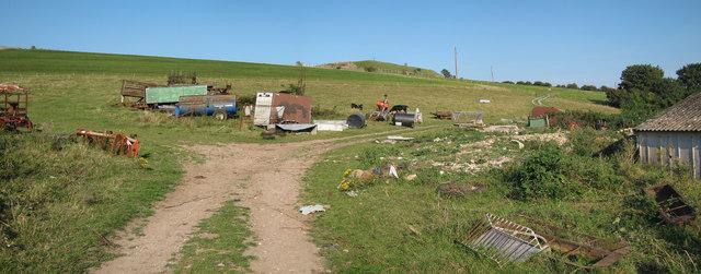 Field of machinery at Mile Oak Farm