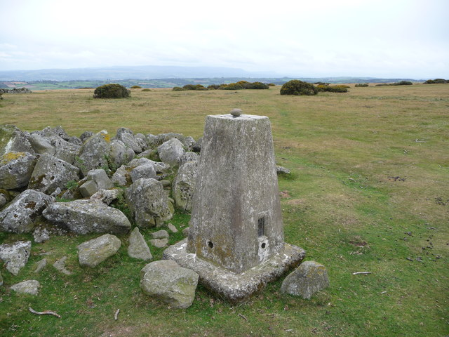 Hergest Ridge trig point, looking to the Black Mountains