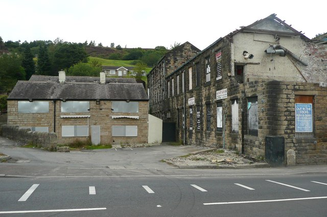 Cinderhill Mills and the former Rose and Crown, Todmorden