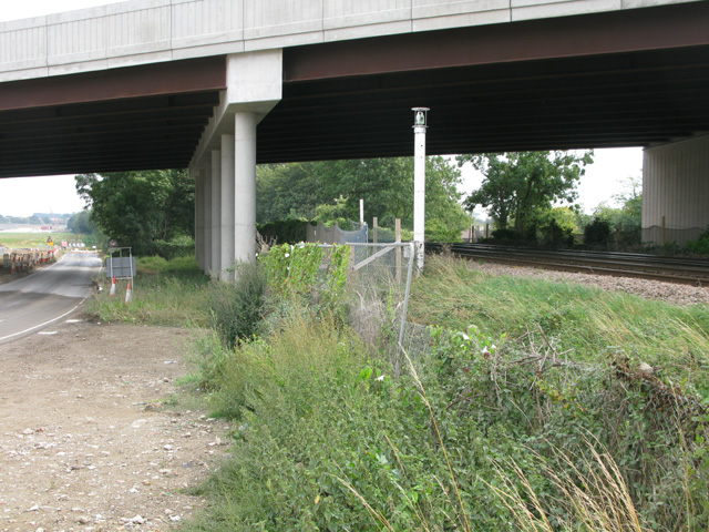 The new road bridge over Cottington Road and the railway