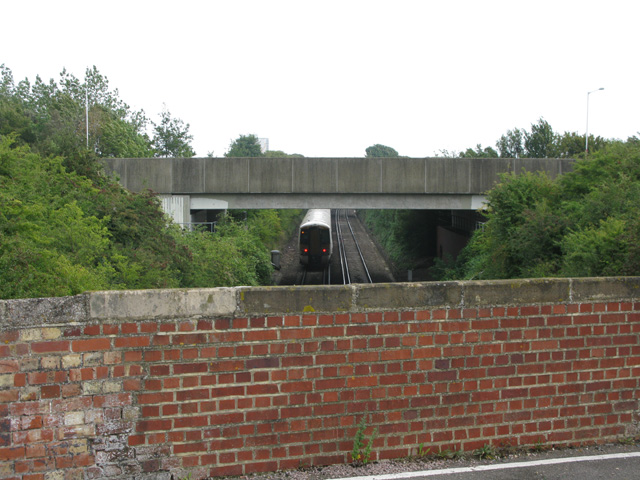 The old and new bridges over the railway at Lord of the Manor