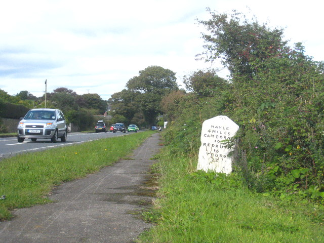 Milestone beside the A30 between Crowlas and Cockwells