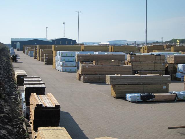 Timber yard at Shoreham Port