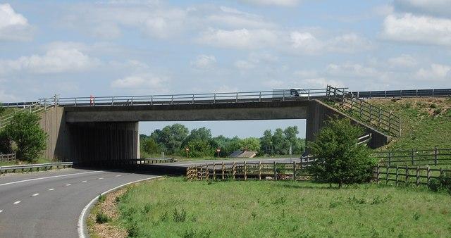 Slip road goes below the M11, junction 9