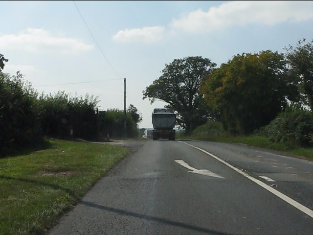 A44 at the access for Pitfield Farm