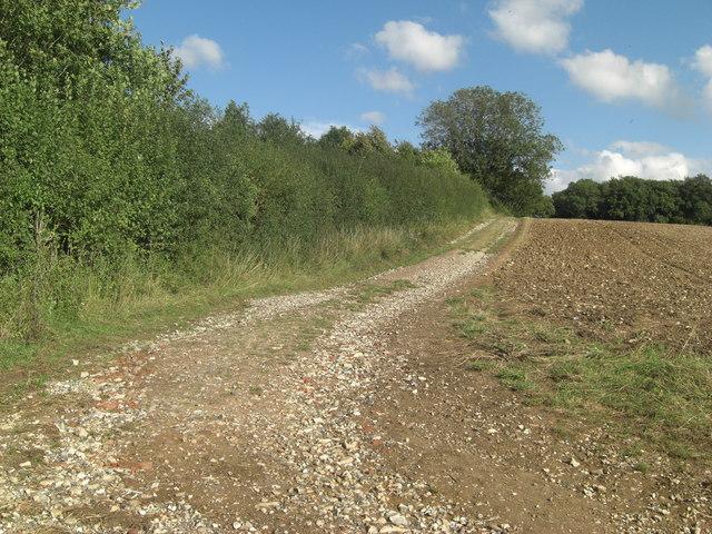 Footpath lane junction below Hartridge Farm
