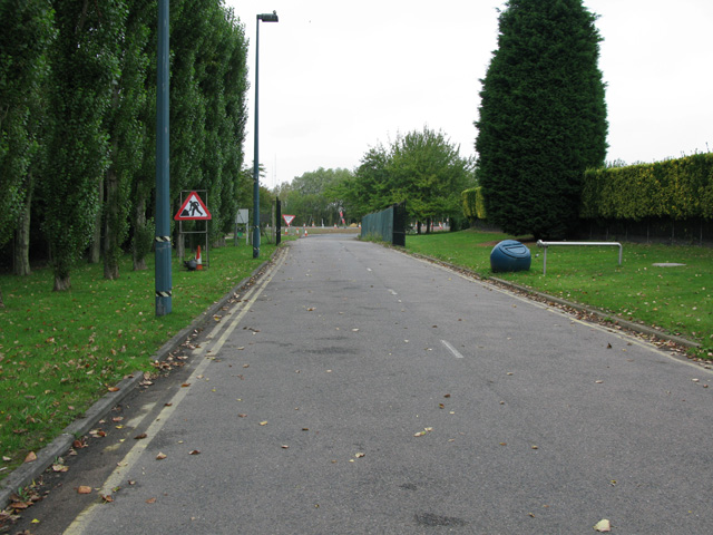 Road leading from the Pfizer sports and social club to the A256