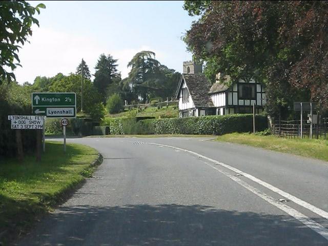 A44 near Lyonshall castle