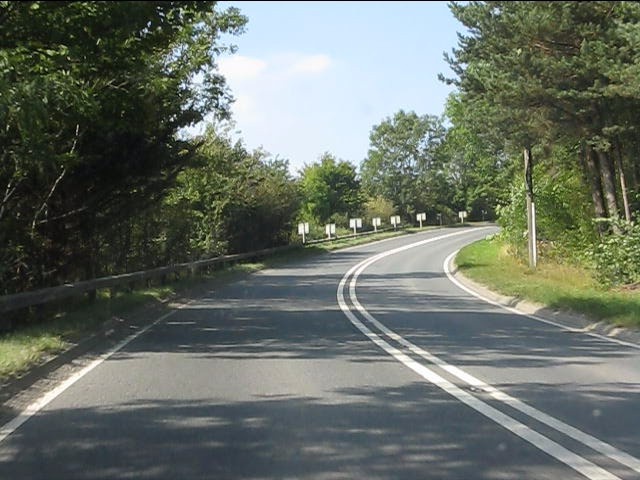 A44 climbs the hill to Gore