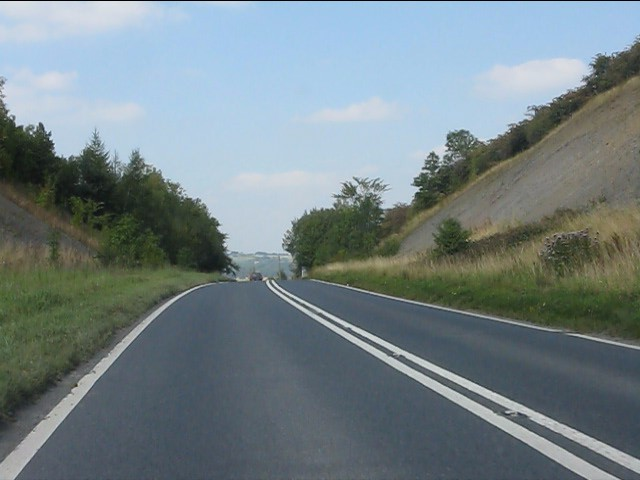 A44 in deep cutting at Gore