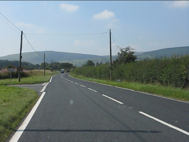 A44 at the junction for Harpton Farm