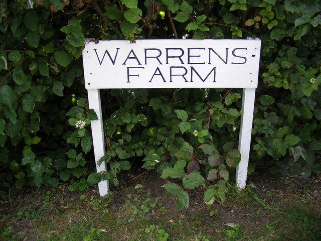 Warrens Farm sign