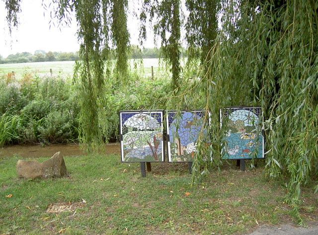 Mosaic triptych by the water, Standlake