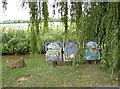 SP3903 : Mosaic triptych by the water, Standlake by Neil Owen