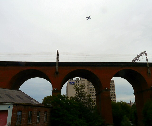 Flying in over Stockport