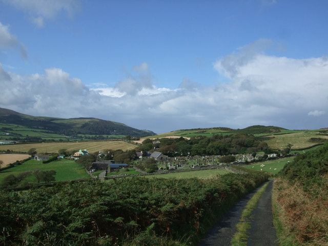 View towards Maughold Parish Church and the graveyard