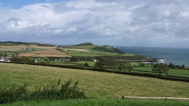 Panoramic view towards Port Mooar and Maughold Head