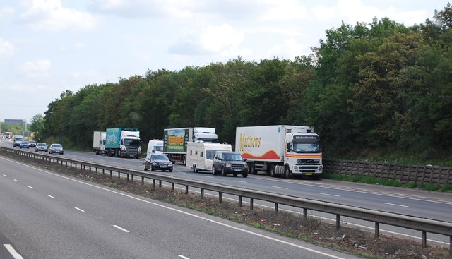 Lorries parked in a layby, A14