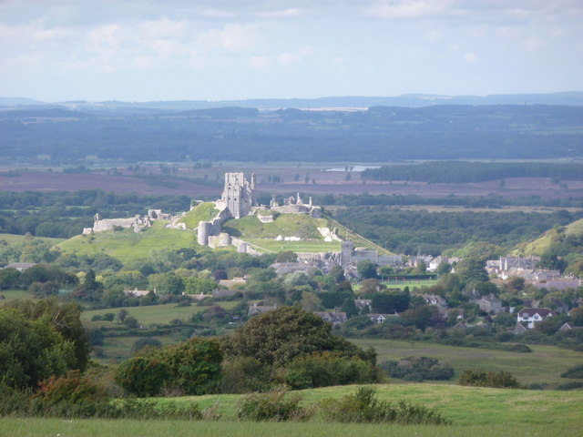 Corfe Castle: view from east of Kingston