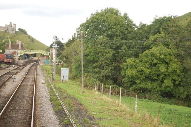 Arriving at Corfe Castle station