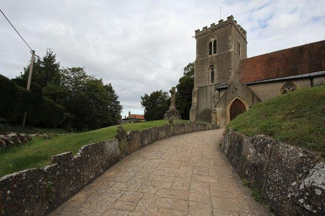 Headstones line the footpath