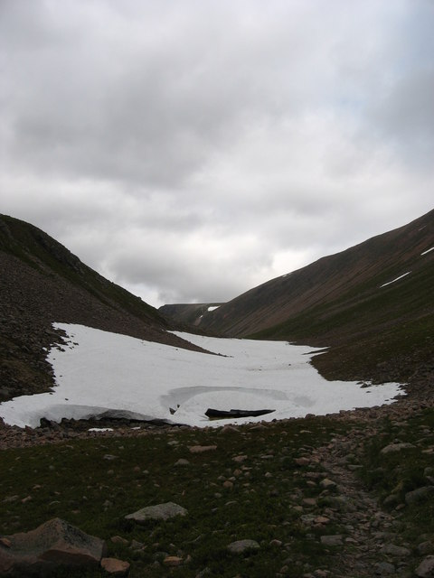 Mid-summer snow at the summit of the Lairig Ghru