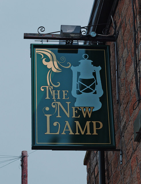 The New Lamp (2) - sign, 12 Bankbottom, Hadfield