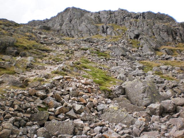 Steep and rugged path up Bowfell